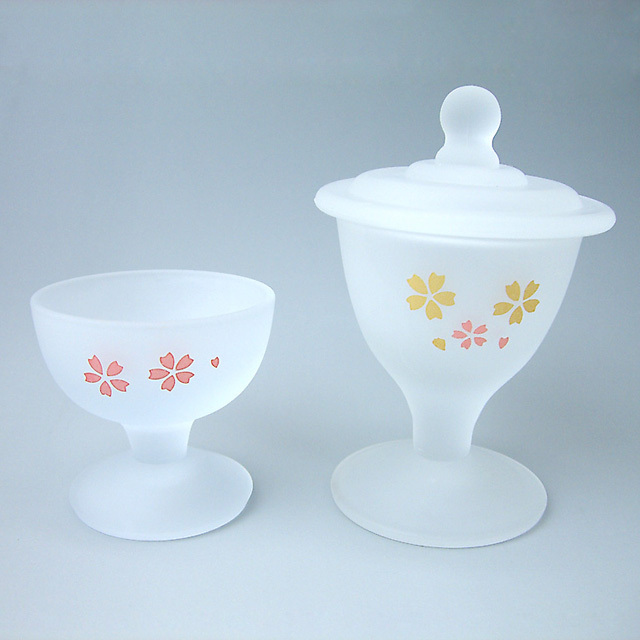 くもりガラス製仏茶器 ホワイト桜2点セット
