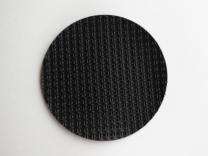#555 イタリアンプレス革コースター  丸・黒