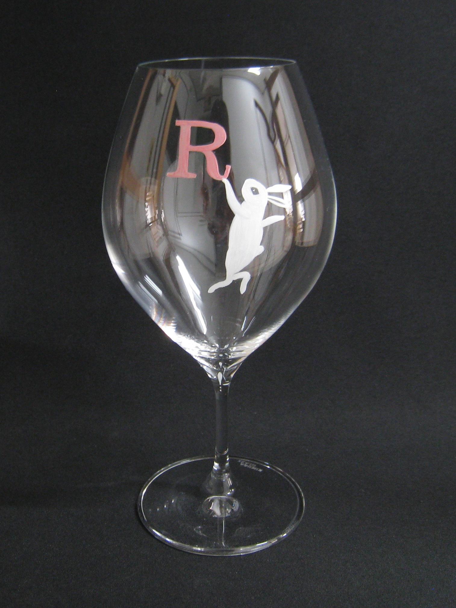 白うさぎ 手描きイニシャル(グラス:ピッコロ10ozワイン)