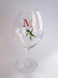 カエル ぶらさがり 手描きイニシャル(グラス:ピッコロ10ozワイン)