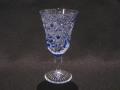 江戸切子 食前酒杯 菱四ツ葉+ダイヤ 瑠璃