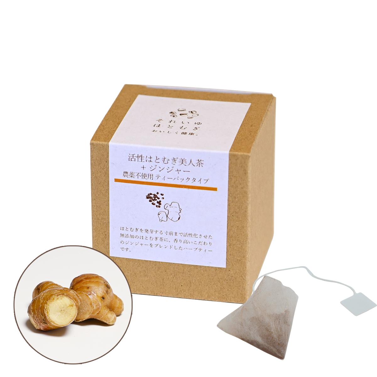 【5袋タイプ】活性はとむぎ美人茶+ジンジャー 農薬不使用ティーバックタイプ