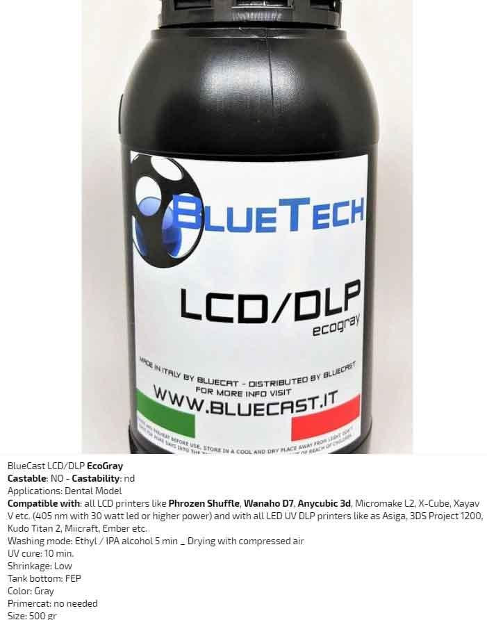 BlueCast エコグレー(ベージュ)歯科モデルLCD / DLP レジン 光造形LCD/DLPプリンター用 (Wanaho D7、  Anycubic 3D、Zortrax、Prusa、Micromake L2、X-Cube、Xayav VなどのすべてのLCDプリンタ (30 W LED以上405 nm)) BlueCast Ecogray LCD/DLP 0.5 kg