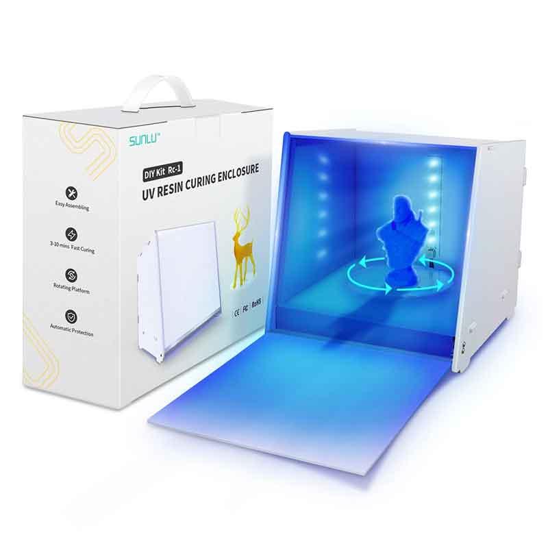 UV硬化ボックス (SLA DLP LCD3Dプリンター用電動ターンテーブル/調整可能タイマー付き405nmUV)