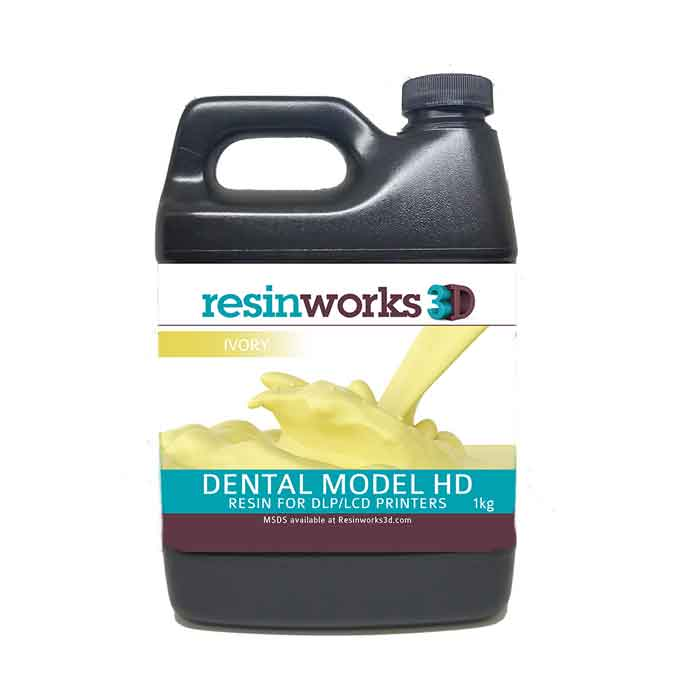 resinworks3D 歯科用モデルHDレジン アイボリー1Kg LCD光造形 3Dプリンター用 (Anycubic Photon、Bean、FlashForge、Phrozen 3Dプリンター、Wanhao、およびその他のLCDベースのプリンター)Dental Model Ivory