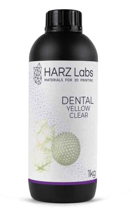 HARZLabs 歯科用デンタルイエロークリア 500g LCD光造形 3Dプリンター用 (Anycubic Photon、Bean、FlashForge、Phrozen 3Dプリンター、Wanhao、およびその他のLCDベースのプリンター)Dental Yellow Clear