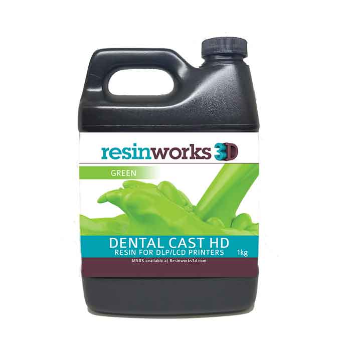 resinworks3D 歯科用キャストHDレジン グリーン500g LCD光造形 3Dプリンター用 (Anycubic Photon、Bean、FlashForge、Phrozen 3Dプリンター、Wanhao、およびその他のLCDベースのプリンター)DentalCast-HD-Green