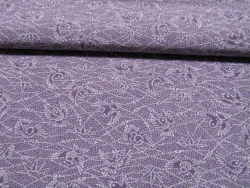 紫苑色、笹と雀柄の江戸小紋 【3806】