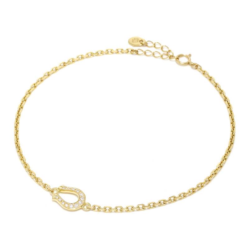 メンズアクセサリー Horseshoe Amulet Chain Anklet - K18Yellow Gold w/Diamond
