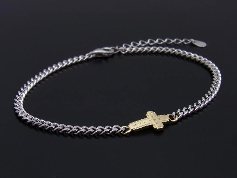 Gravity Cross Chain Bracelet Silver × K18Yellow Gold