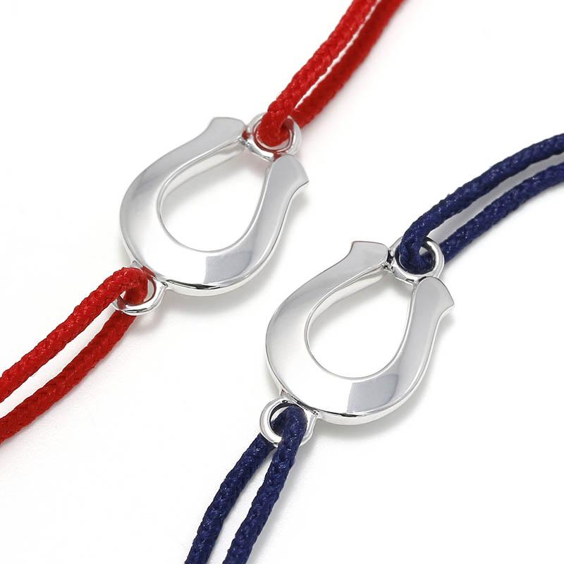 メンズアクセサリー Horseshoe Amulet Cord Bracelet - Silver