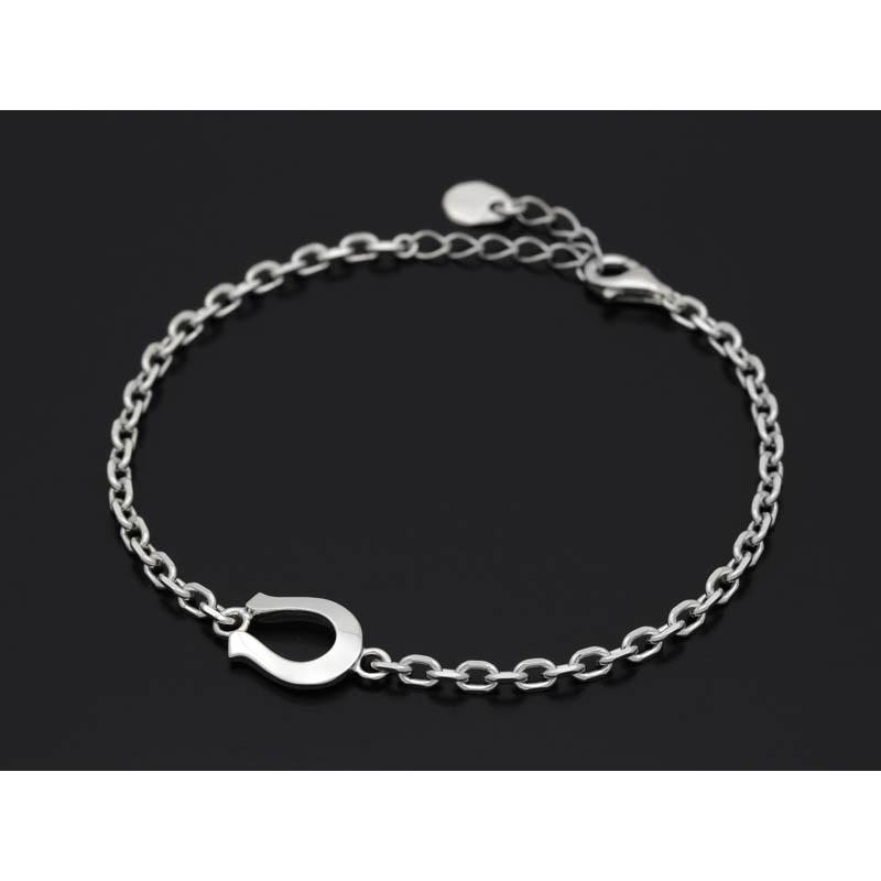 メンズアクセサリー Horseshoe Amulet Chain Bracelet - Silver