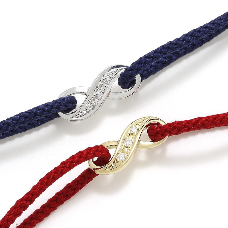 メンズアクセサリー Infinity HOPE Cord Bracelet - K18Yellow Gold w/Diamond