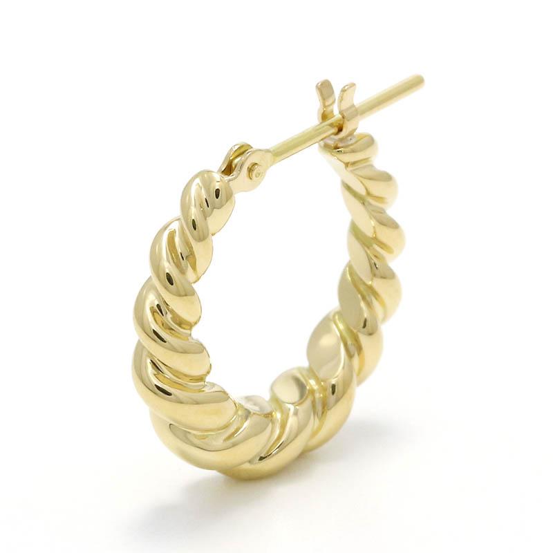 メンズアクセサリー Gradation Twist Hoop Pierce - K18Yellow Gold