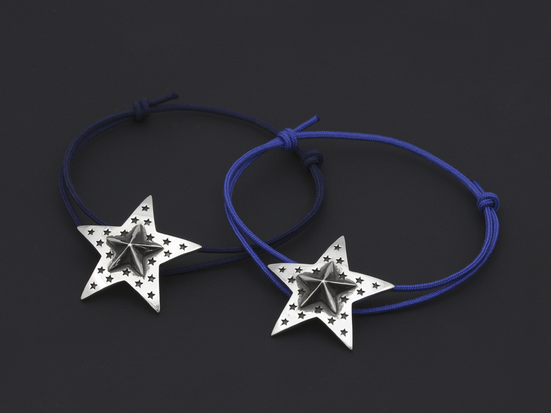 """Marbles×SYMPATHY OF SOUL"" Collabolation Star Cord Bracelet - Silver"