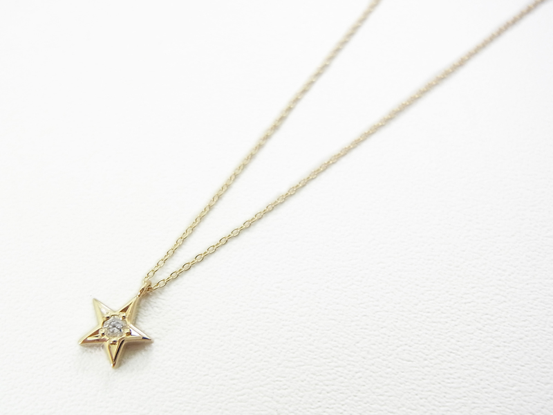 Little Shine Star Necklace - K10Yellow Gold w/Diamond