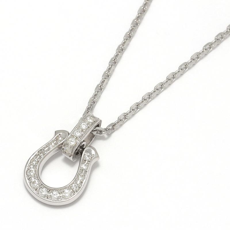 メンズアクセサリー Horseshoe Amulet Necklace - Silver w/CZ