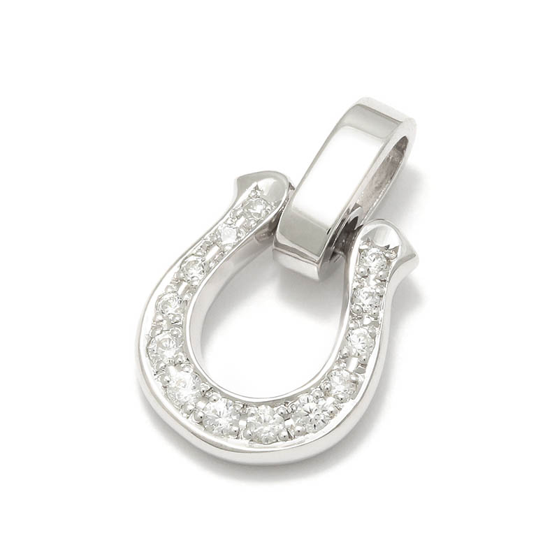 メンズアクセサリー Horseshoe Amulet - Silver w/CZ