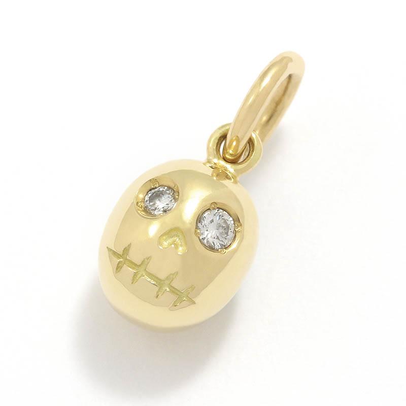 Sweet Skull Charm - K18Yellow Gold w/Diamond