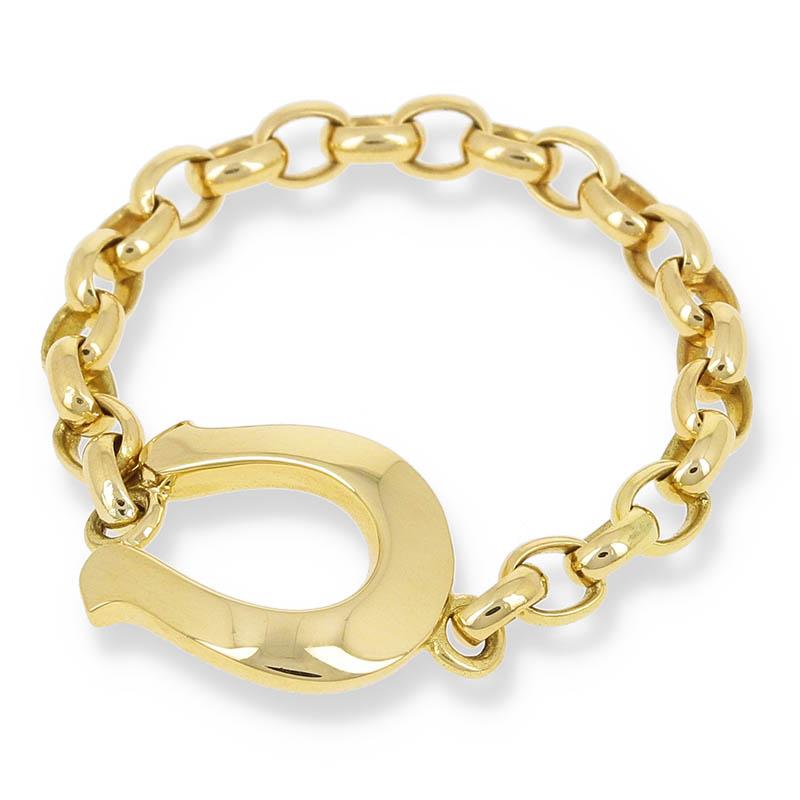 メンズアクセサリー Horseshoe Chain Ring - K18Yellow Gold