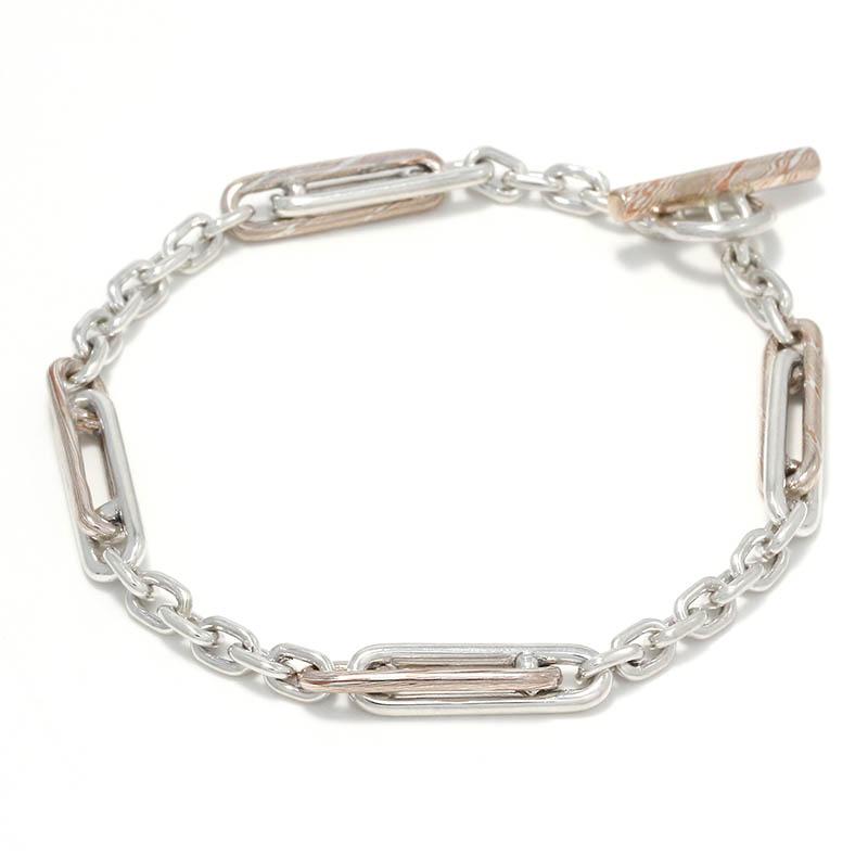 メンズアクセサリー Double Link Bracelet / MOKUME×Silver