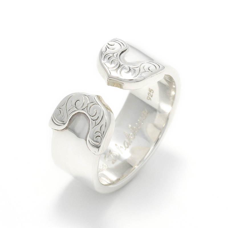 メンズアクセサリー Lotus Ring Plain / Silver Carving