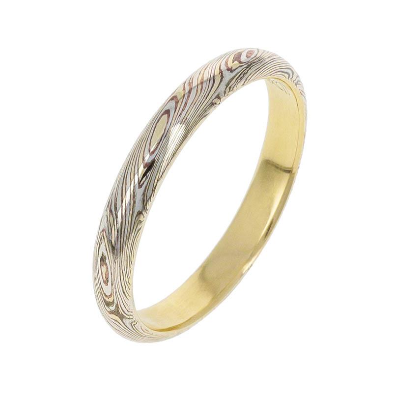 メンズアクセサリー Gold MOKUME Combination Ring