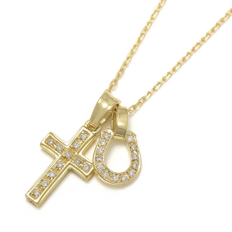 メンズアクセサリー Small Gravity Cross Necklace w/Horseshoe - K18Yellow Gold w/Diamond