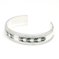 Feather Inlay Bangle - Silver