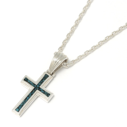 Small Gravity Cross Inlay Necklace - Silver