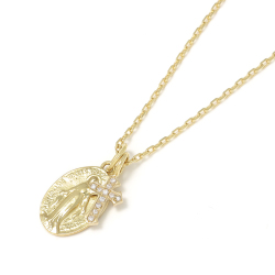 Maria Pendant + Little Cross Charm - K18Yellow Gold w/Diamond Set Necklace