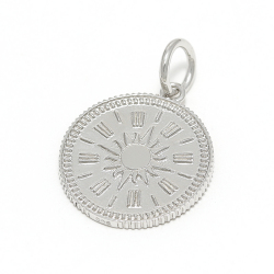Medium Hope Sun Coin Charm - Silver