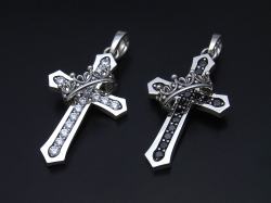 Cross with Crown Pendant / Stone