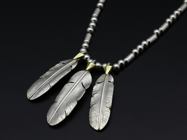 Silver Beads Chain Necklace + 3Feather Set