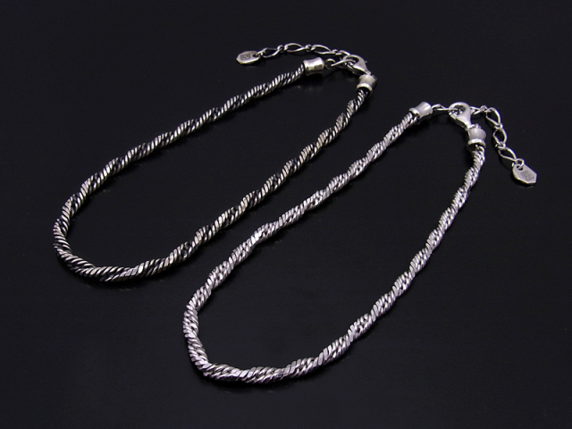 Twist Chain Anklet - Silver