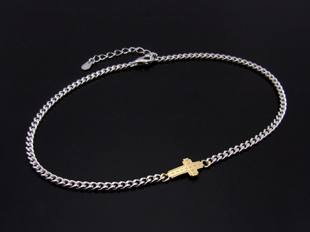 Gravity Cross Chain Anklet Silver × K18Yellow Gold