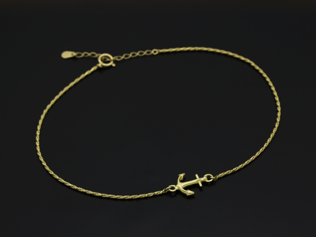 Small Anchor Chain Anklet - K18 Yellow Gold