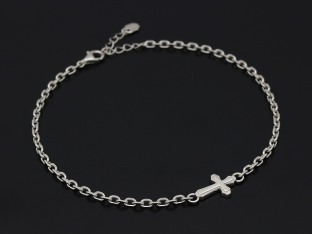 Smooth Cross Chain Anklet - Silver