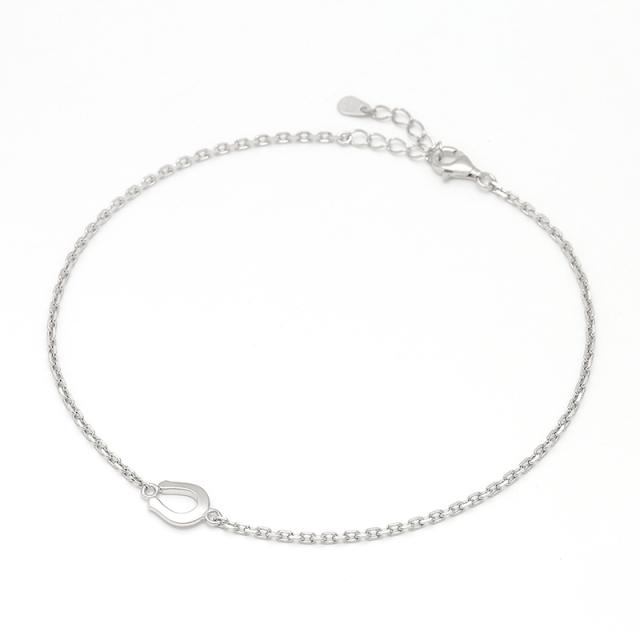 Small Horseshoe Chain Anklet - Silver
