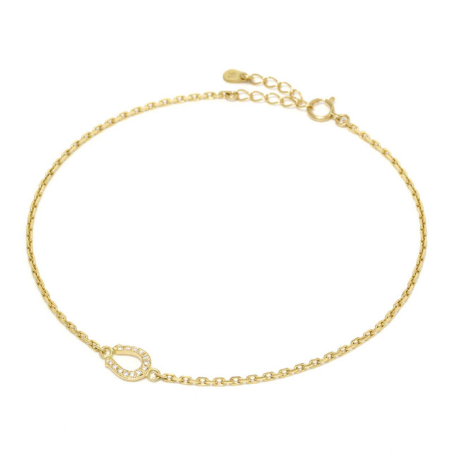 Small Horseshoe Chain Anklet - K18Yellow Gold w/Diamond