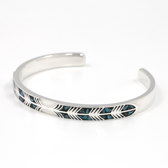 Narrow Feather Inlay Bangle - Silver