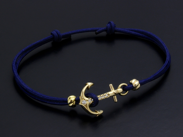 Anchor Cord Bracelet & Anklet - K10Yellow Gold w/Diamond