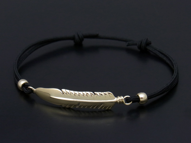 Large Feather Cord Bracelet & Anklet - K10Yellow Gold