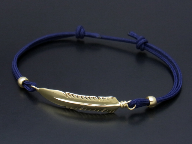 Large Feather Cord Bracelet & Anklet - K18Yellow Gold