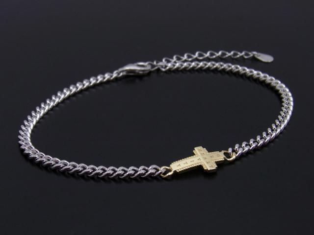 Gravity Cross Chain Bracelet Silver × K18Yellow Gold