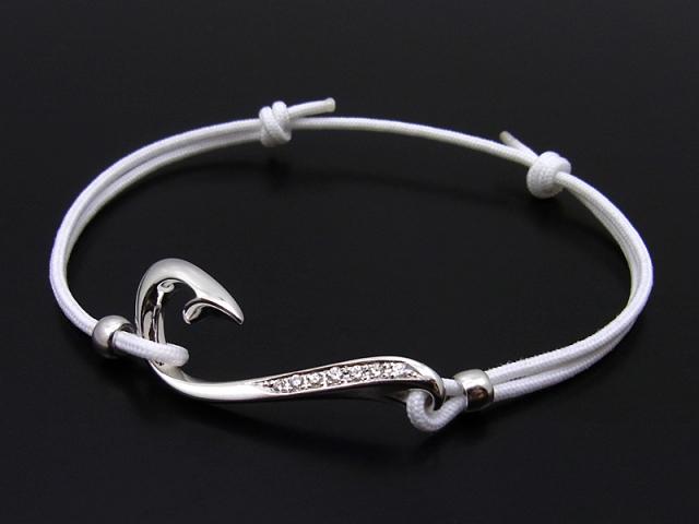 Fish Hook Cord Bracelet & Anklet - Silver w/Clear CZ