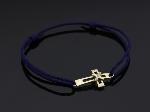 Tied Cross Cord Bracelet - K18Yellow Gold w/Diamond