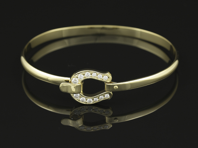 Horseshoe XL Combination Bangle - K18 Yellow Gold w/Diamond