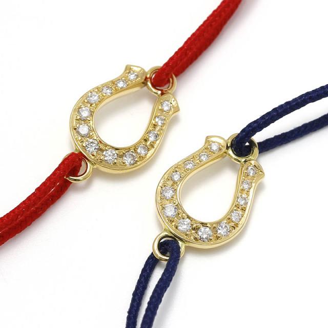 Horseshoe Amulet Cord Bracelet - K18Yellow Gold w/Diamond