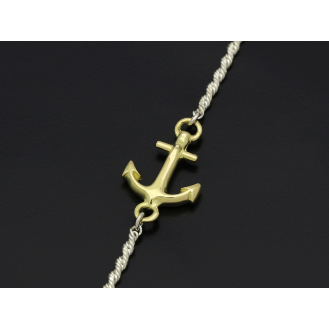 Small Anchor Chain Bracelet - Silver×K18Yellow Gold